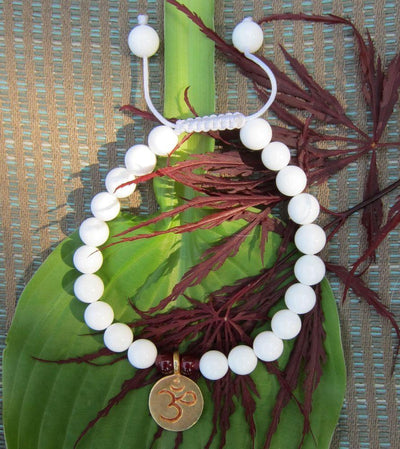 Wrist Malas Default White Shell Wrist Mala with Gold Om wm077