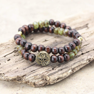 Wrist Malas Double Wrap Czech Bead and Flower Wrist Mala WM420