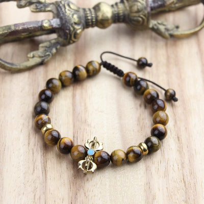 Wrist Malas Fierce Tiger Eye and Dorje Wrist Mala WM462
