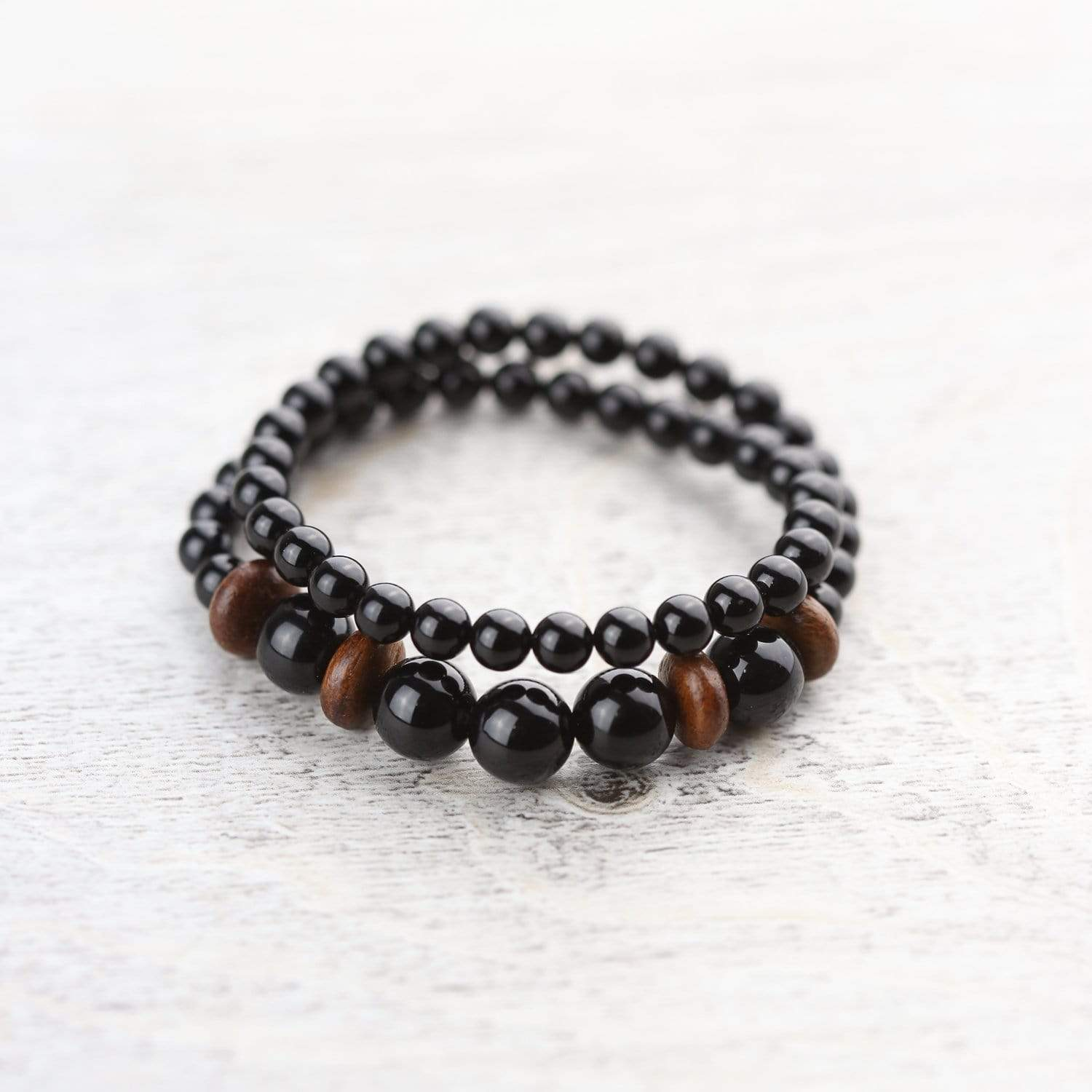 Wrist Malas Grounding Onyx and Wood Double Wrap WM454