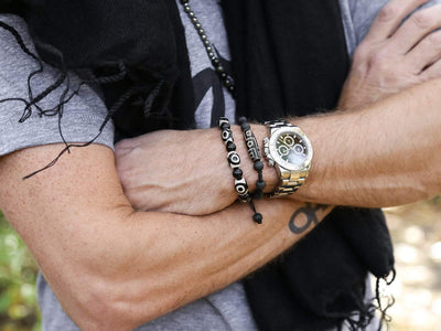 Wrist Malas Men's Dzi Bone Wrist Mala WM012