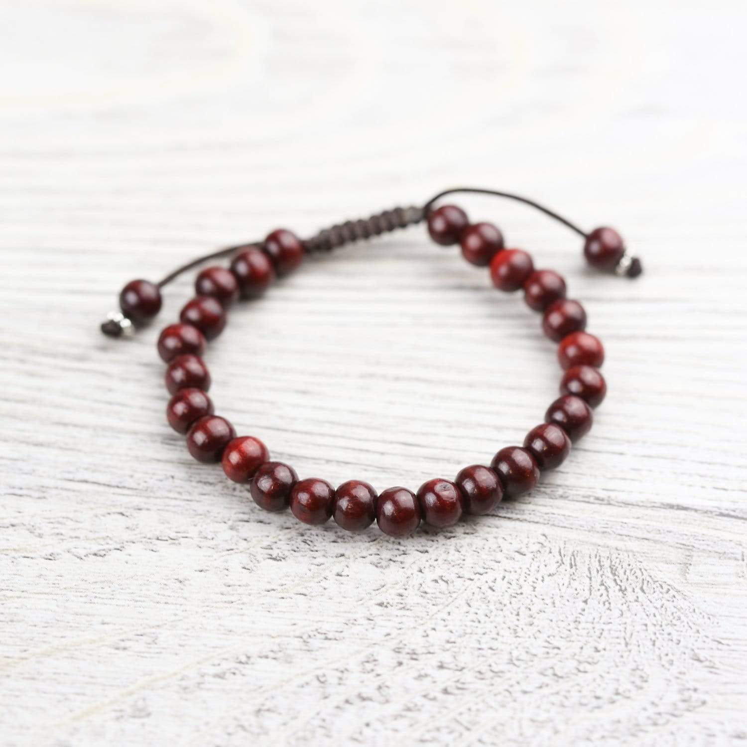 Wrist Malas Red Natural Wood Wrist Mala WM552