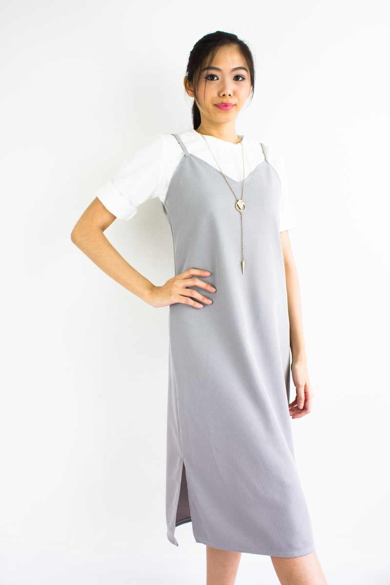 Classic Two Piece Midi Slip Dress in Light Grey - DRESSES - Peep Boutique