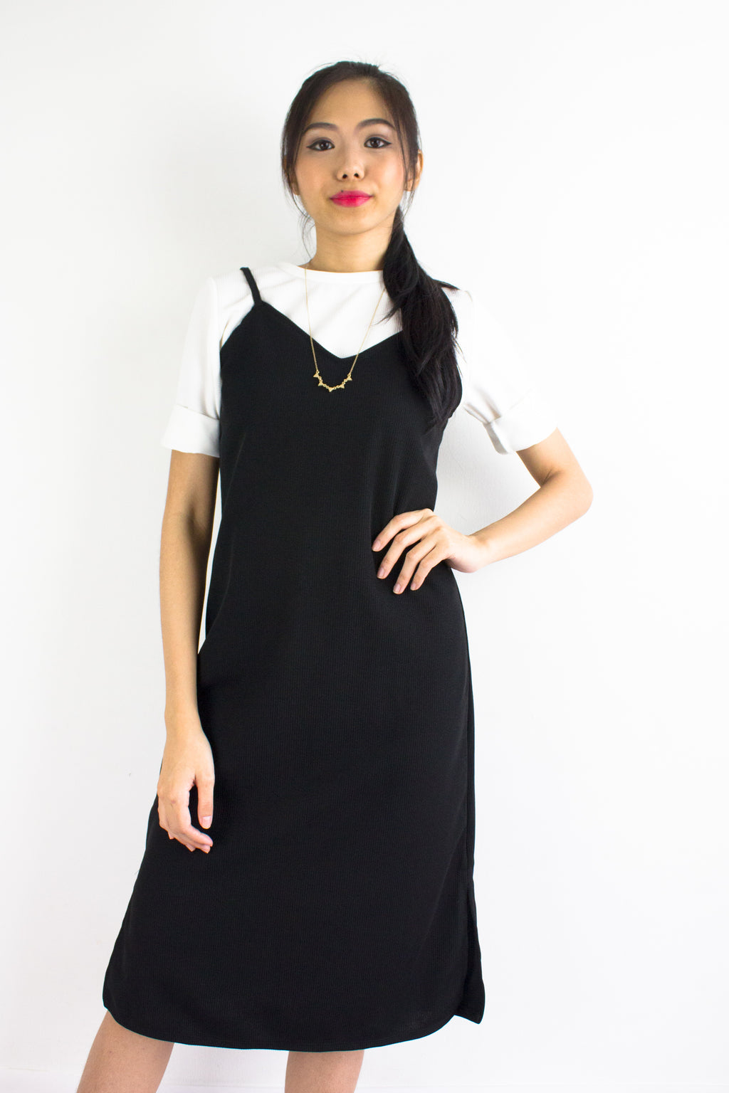 Classic Two Piece Midi Slip Dress in Black - DRESSES - Peep Boutique