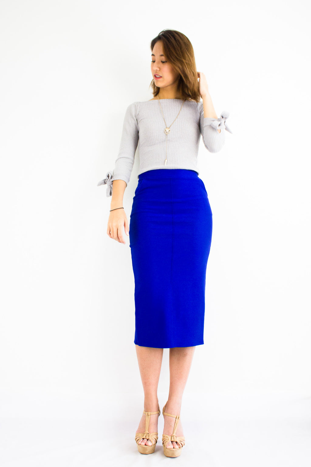 Pocketful Fitted Midi Skirt in Bright Blue - BOTTOMS - Peep Boutique