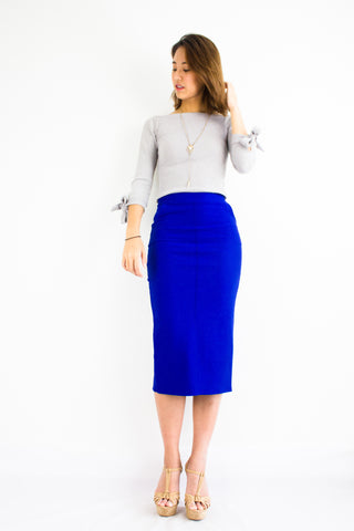 Pocketful Fitted Midi Skirt in Bright Blue