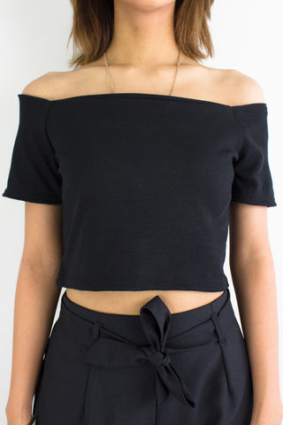 Basic B Off Shoulder Crop Top in Black
