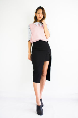 Front Split Midi Skirt in Black