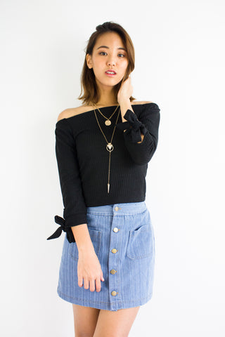 Kitty Off-the-Shoulder Top in Black