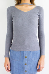 Softest Knit Choker Top in Grey