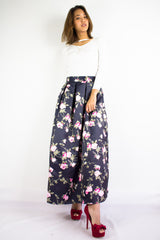 Rose Red Maxi Skirt in Black