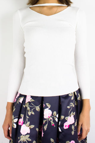 Softest Knit Choker Top in White