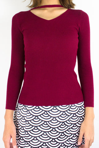 Softest Knit Choker Top in Wine Red