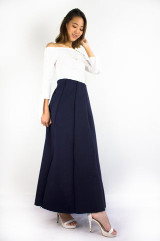Naomi Neoprene Maxi Skirt in Navy Blue