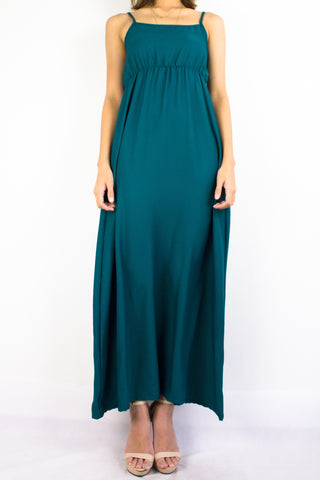 Elena Empire Waist Maxi Dress in Emerald Green