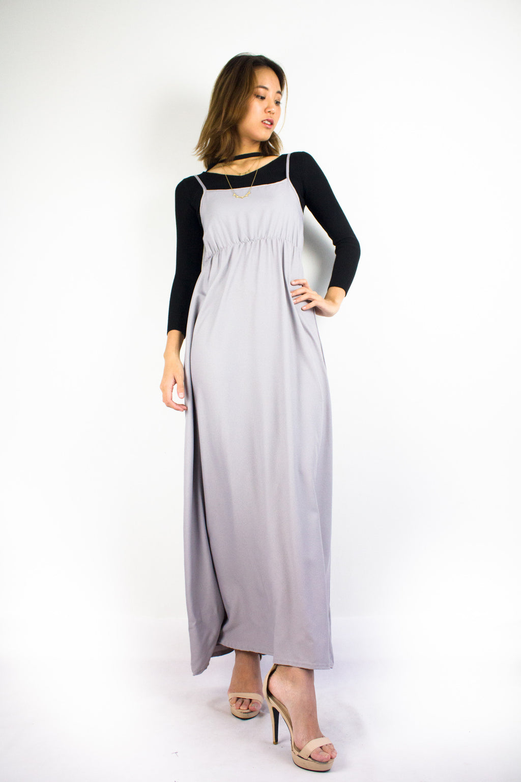Elena Empire Waist Maxi Dress in Smoke Grey - DRESSES - Peep Boutique