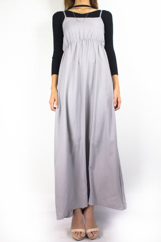 Elena Empire Waist Maxi Dress in Smoke Grey