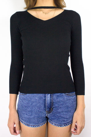 Softest Knit Choker Top in Black