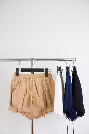 So Fresh Tassel Shorts in Nude - BOTTOMS - Peep Boutique
