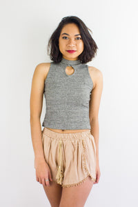 Peep Hole Top in Speckled Grey - TOPS - Peep Boutique