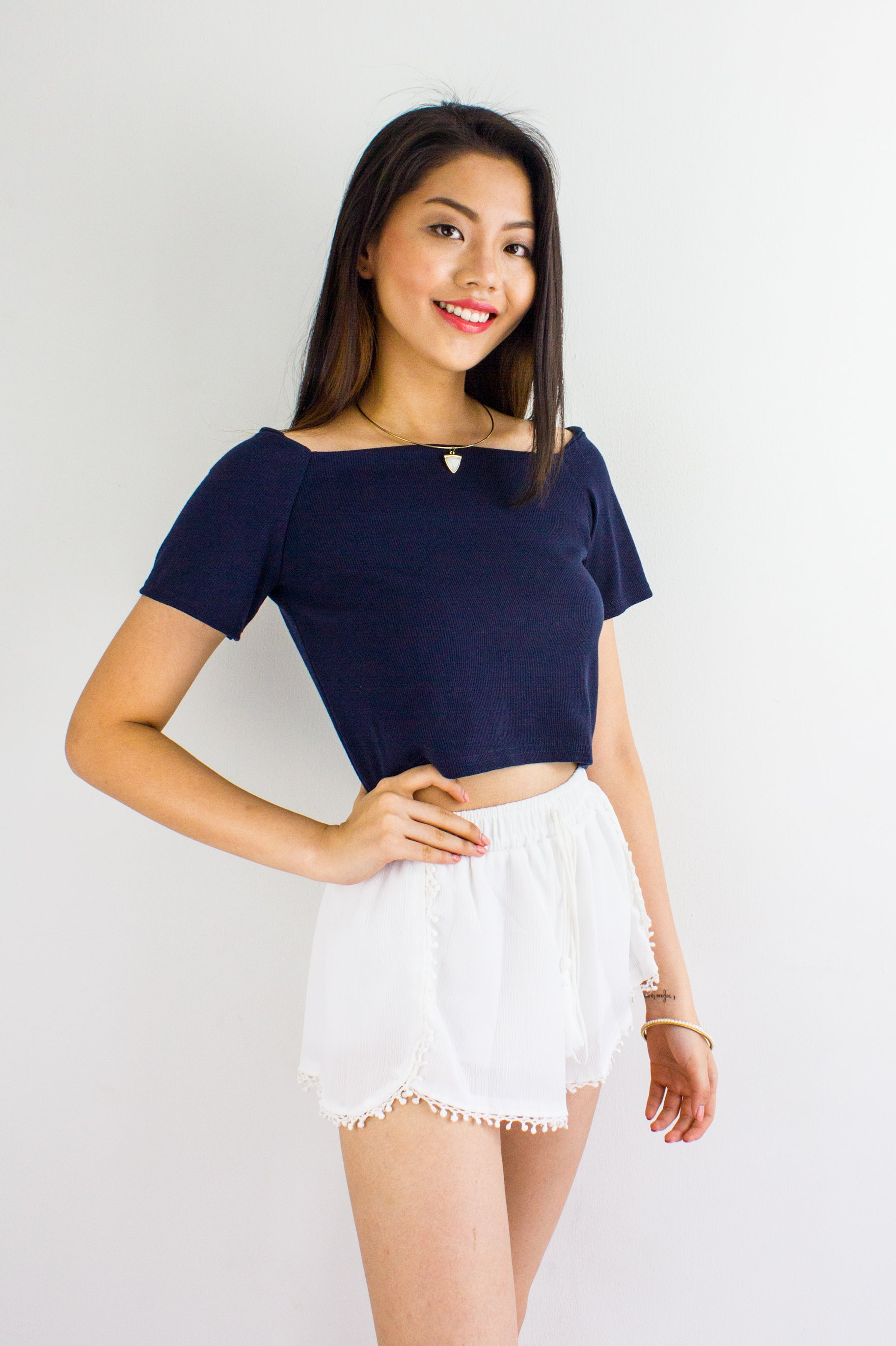 Basic B Off Shoulder Crop Top in Navy Blue