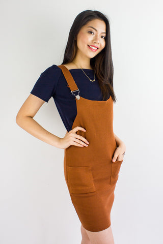 Kelsey Knit Pinafore in Camel Brown