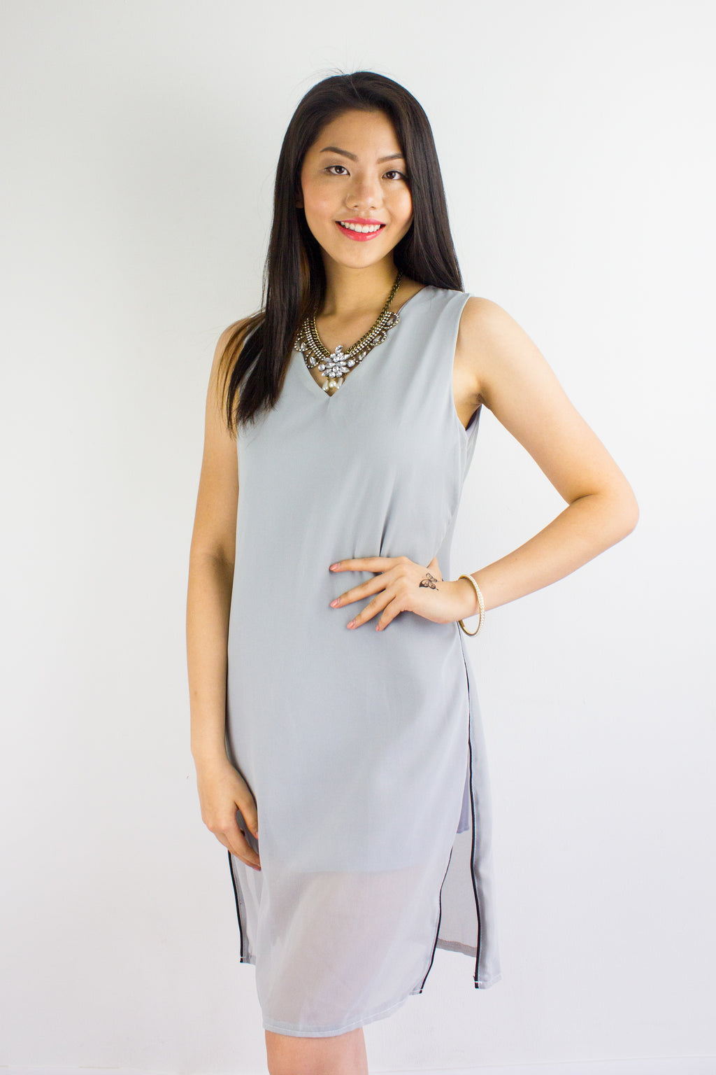 Split Ways Chiffon Dress in Grey - DRESSES - Peep Boutique