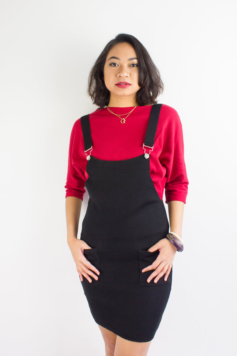 Kelsey Knit Pinafore in Black - DRESSES - Peep Boutique