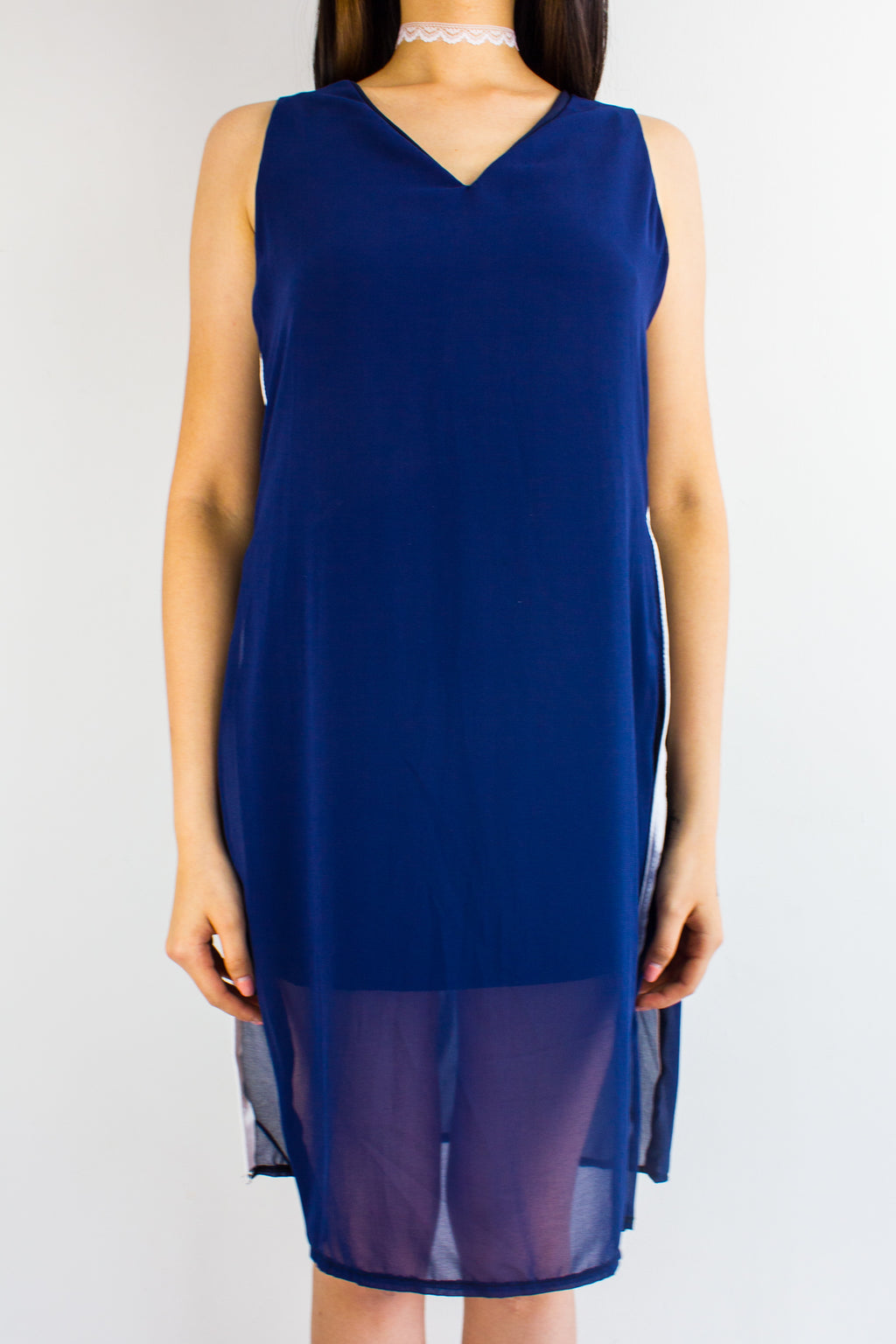 Split Ways Chiffon Dress in Navy - DRESSES - Peep Boutique