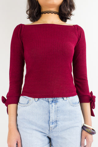 Kitty Off-the-Shoulder Top in Wine Red