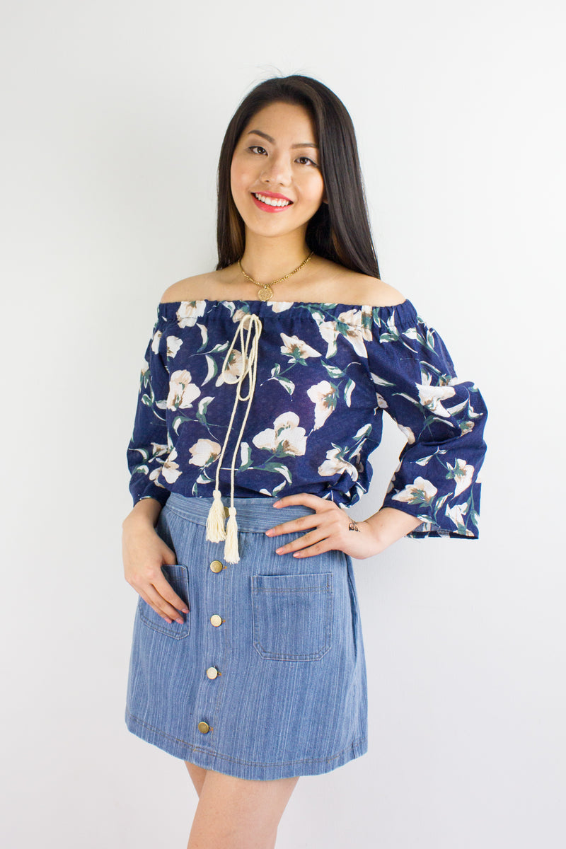Summertime Sadness Floral Top in Navy Blue - TOPS - Peep Boutique