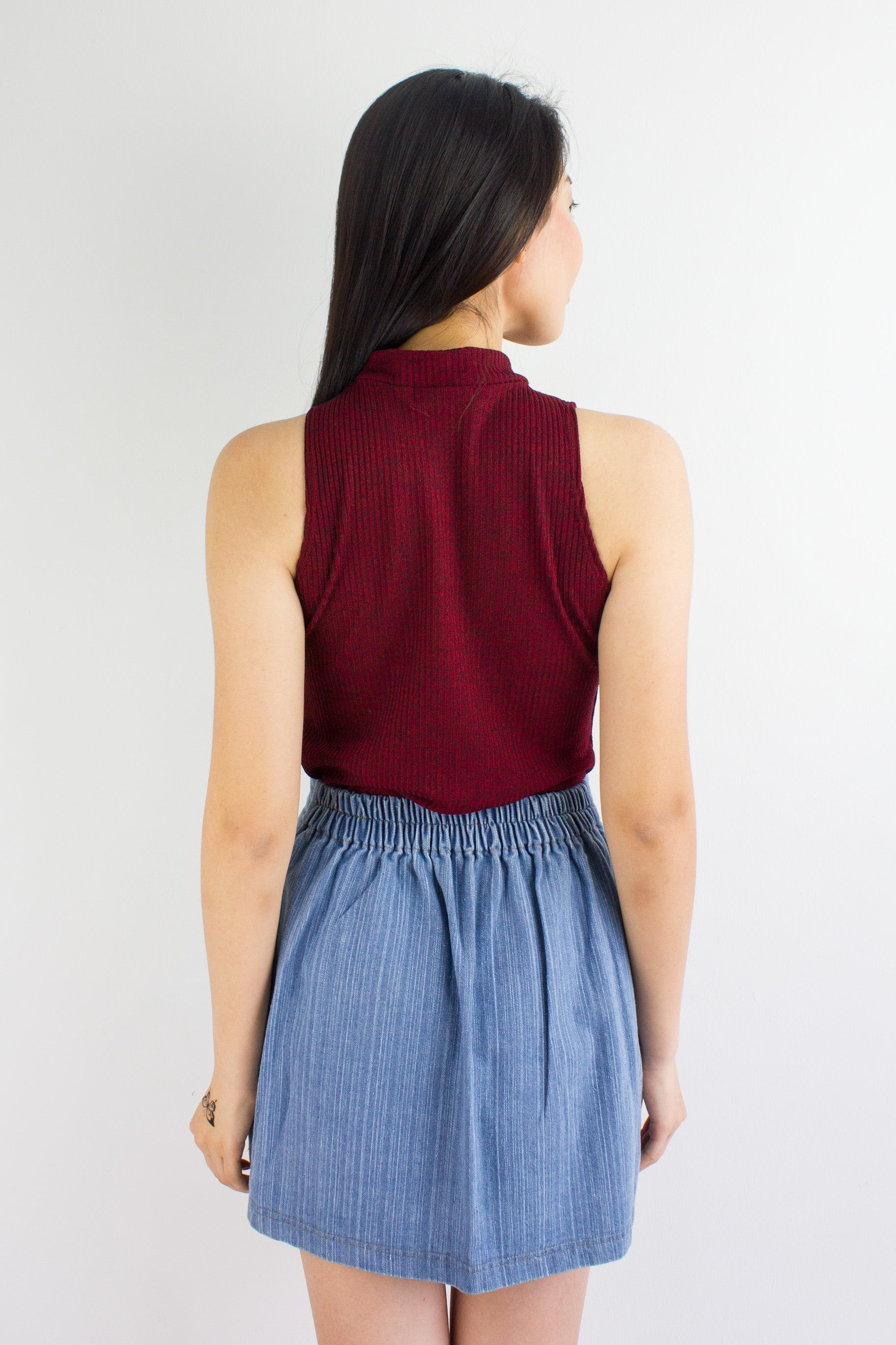 Peep Hole Top in Maroon
