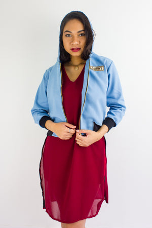 Bombs Away Denim Military Jacket in Light Blue - TOPS - Peep Boutique