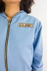 Bombs Away Denim Military Jacket in Light Blue