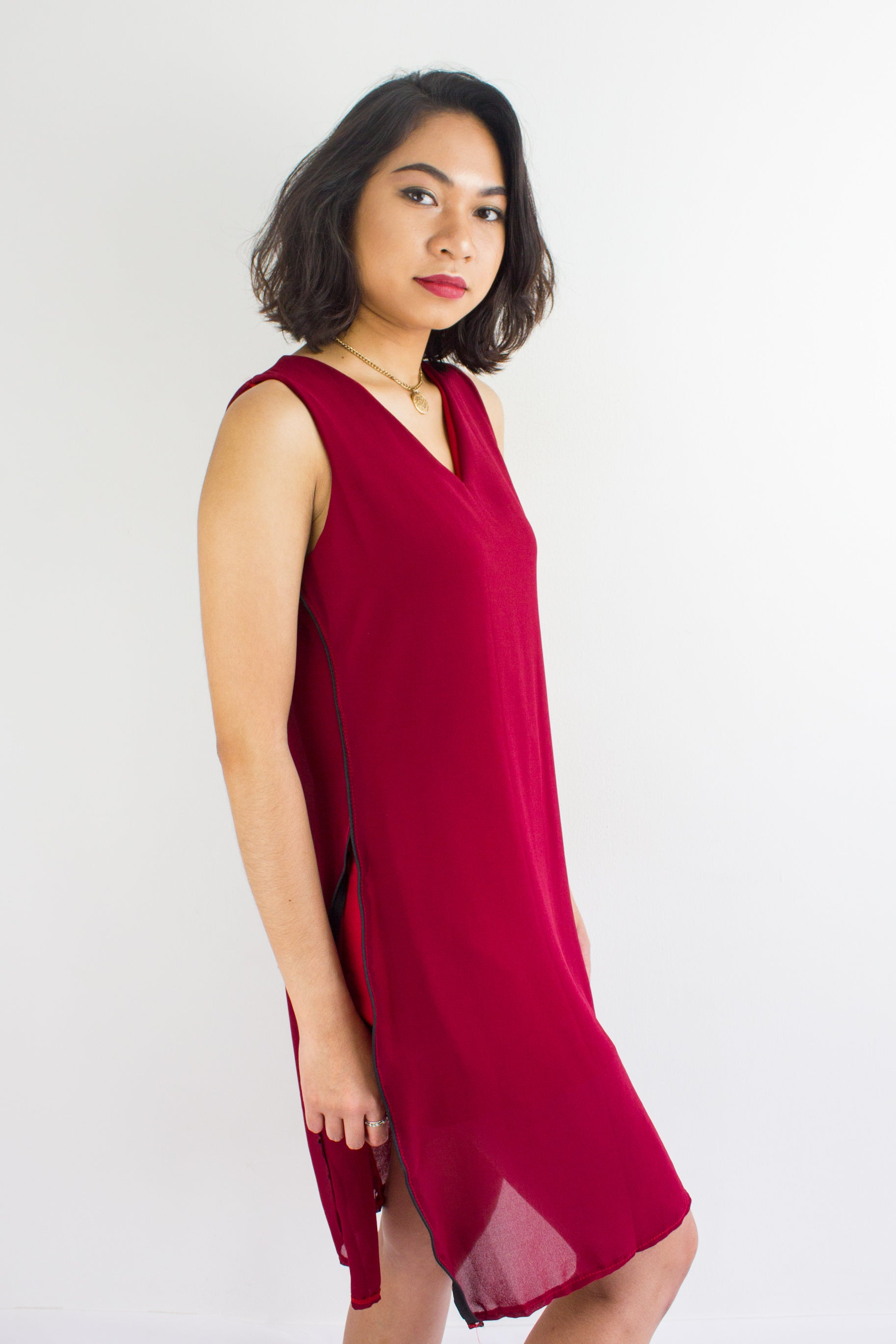 Split Ways Chiffon Dress in Red