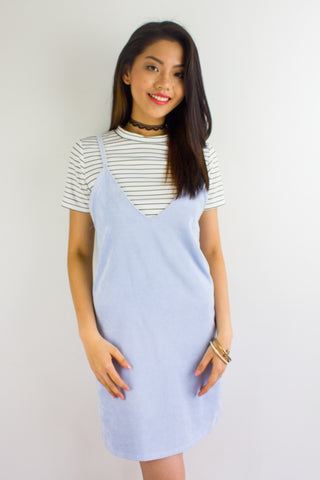 Cords & Lines Two Piece Slip Dress in Sky Blue