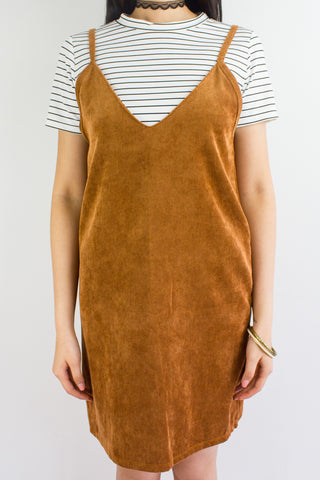 Cords & Lines Two Piece Slip Dress in Camel Brown