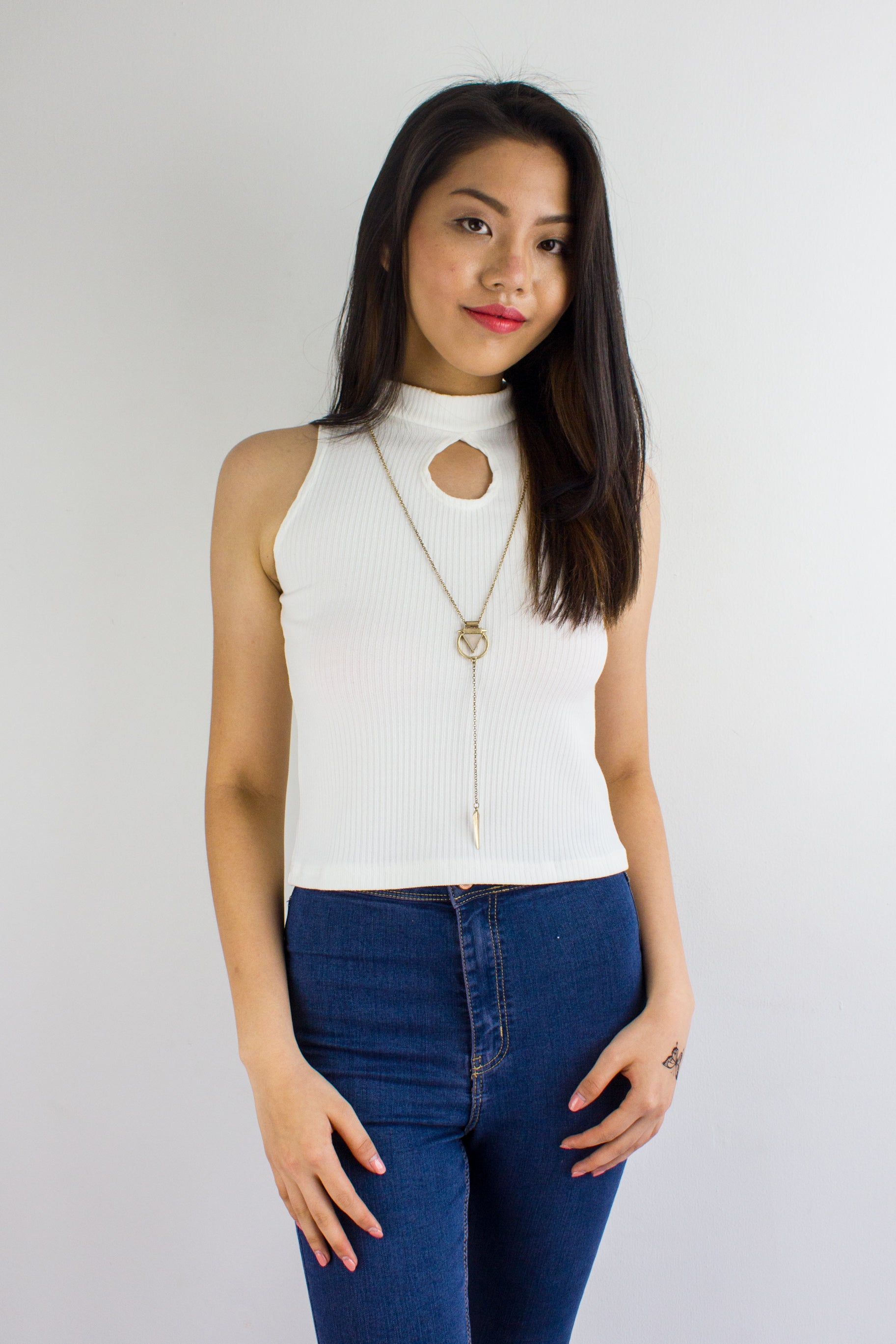 Peep Hole Top in White