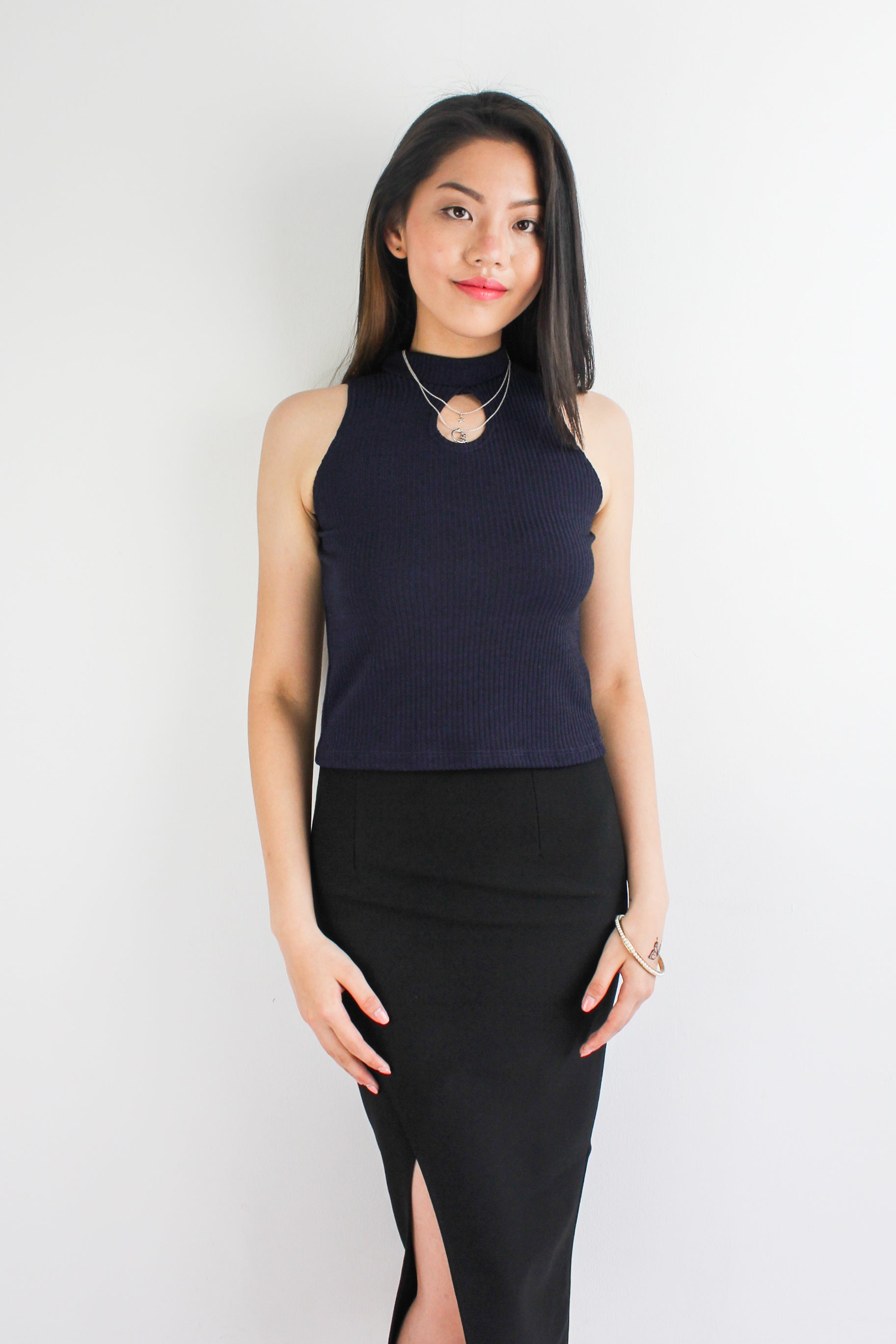 Peep Hole Top in Navy Blue