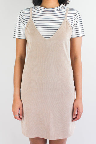 Cords & Lines Two Piece Slip Dress in Nude