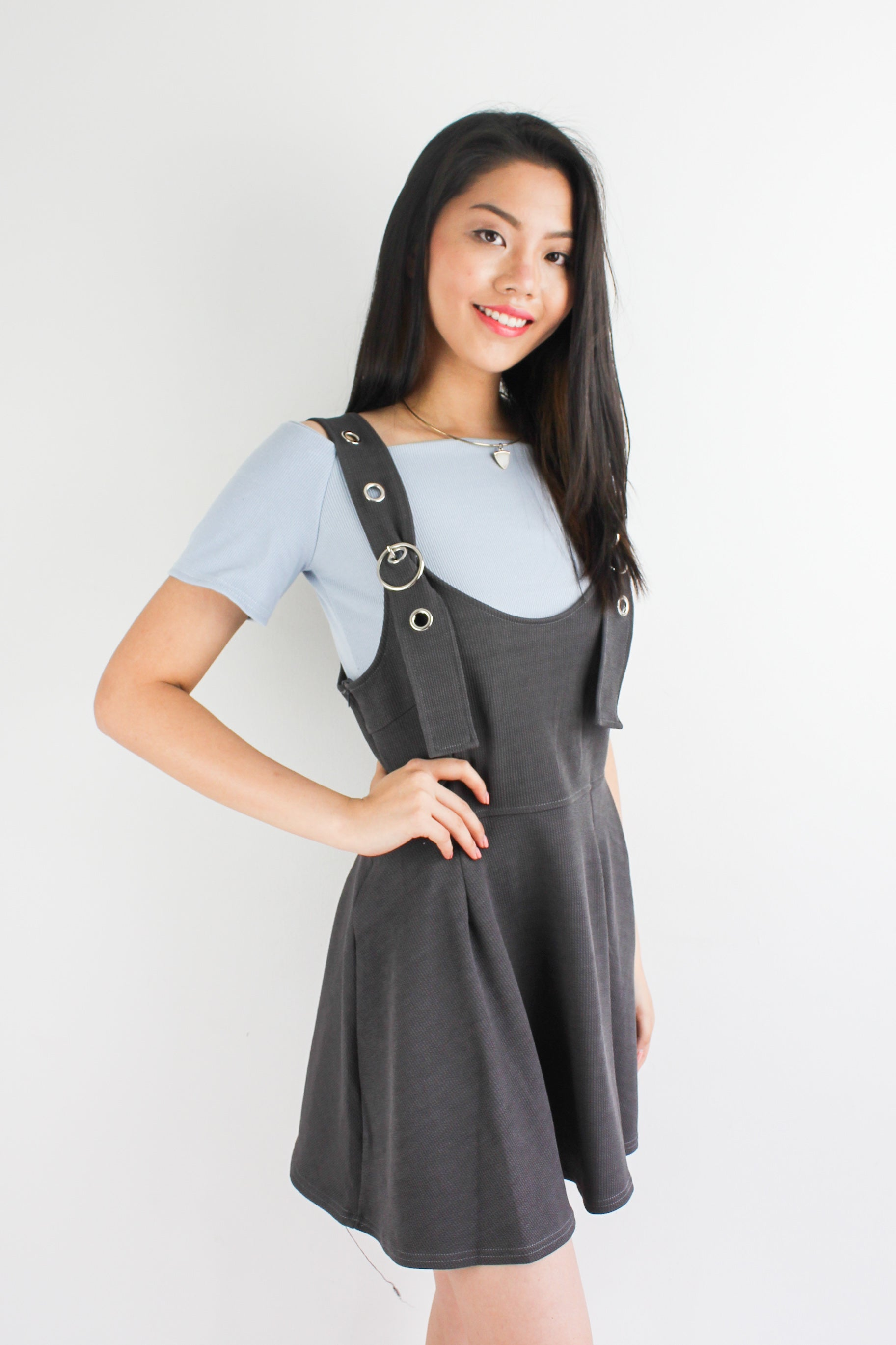 Grommet Skater Pinafore in Charcoal Grey