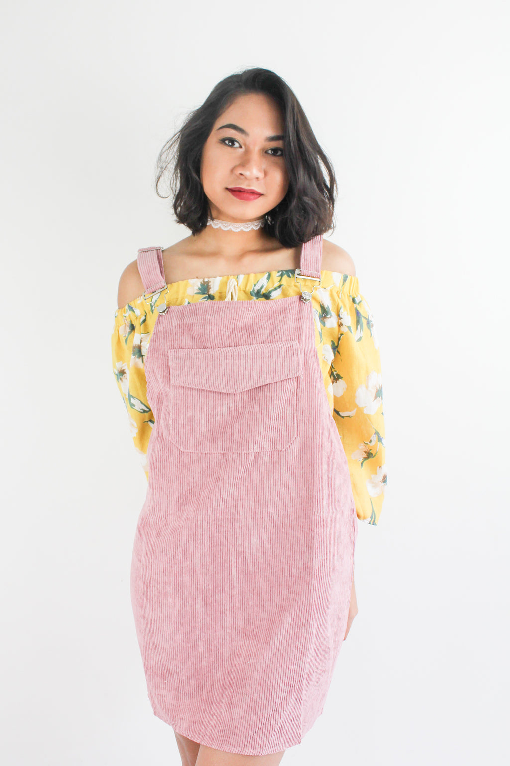 In Ac-Cord Midi Pinafore in Dusty Pink - DRESSES - Peep Boutique