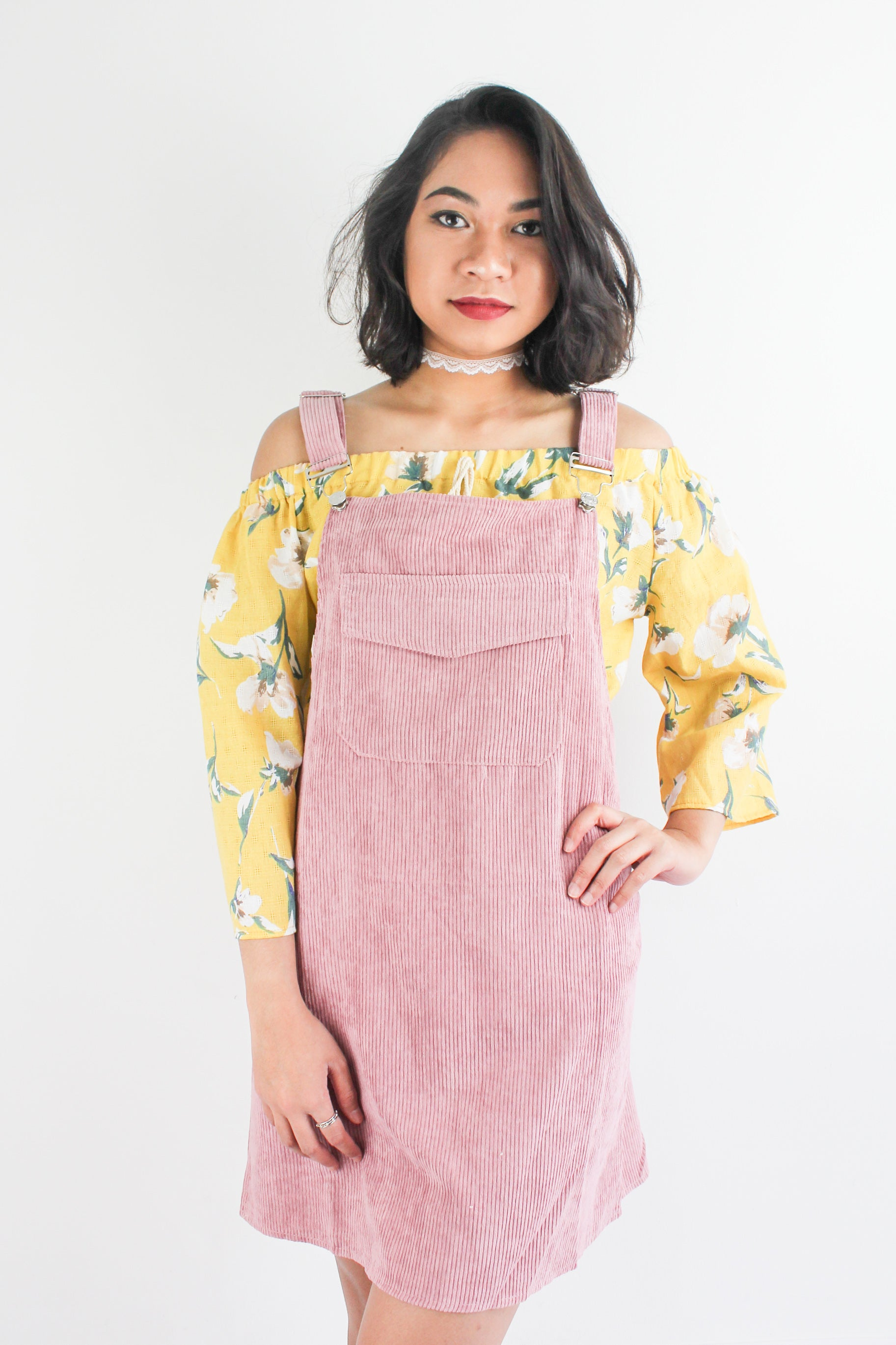 In Ac-Cord Midi Pinafore in Dusty Pink