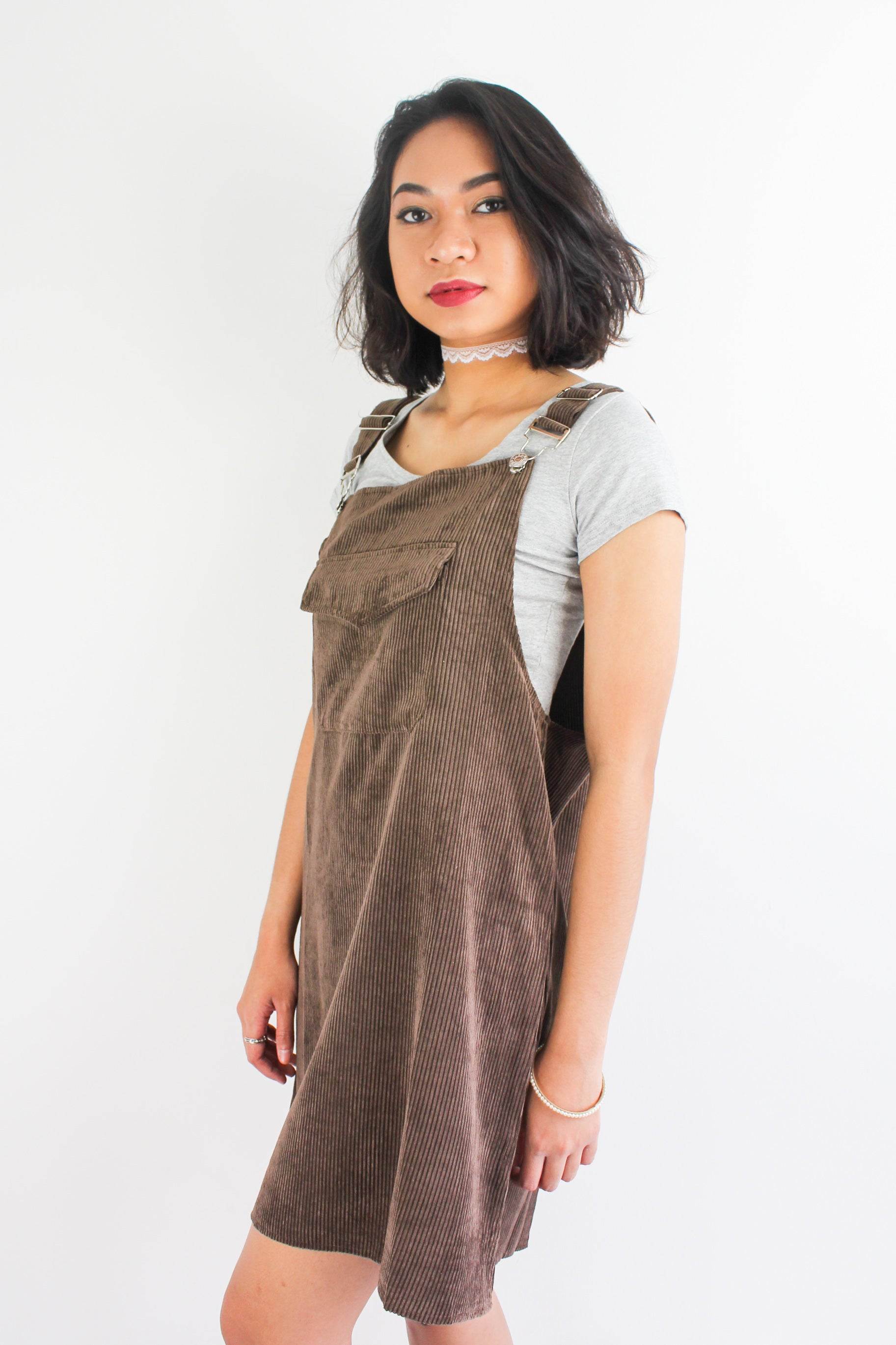 In Ac-Cord Midi Pinafore in Chocolate Brown