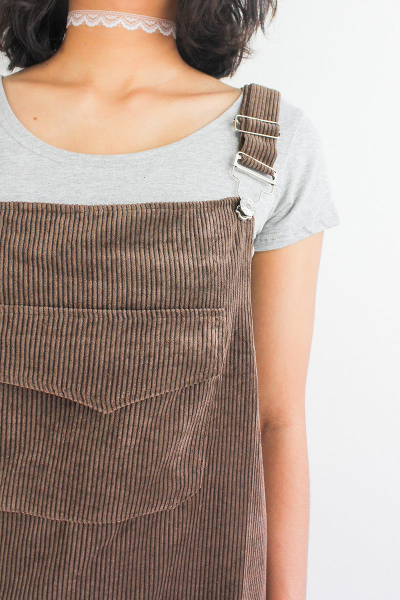 In Ac-Cord Midi Pinafore in Chocolate Brown - DRESSES - Peep Boutique