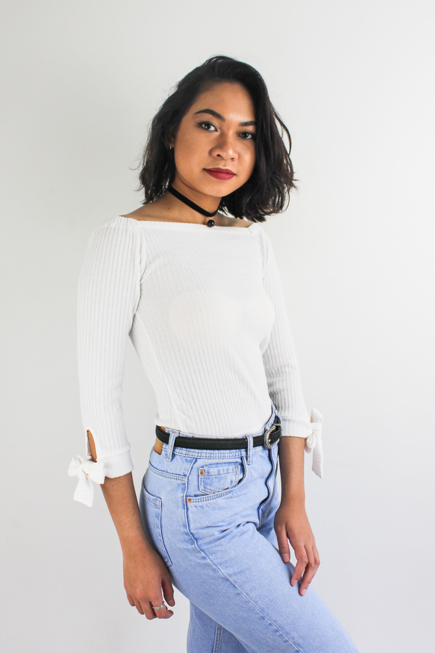 Kitty Off-the-Shoulder Top in White