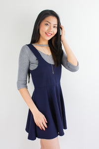 Grommet Skater Pinafore in Navy Blue - DRESSES - Peep Boutique