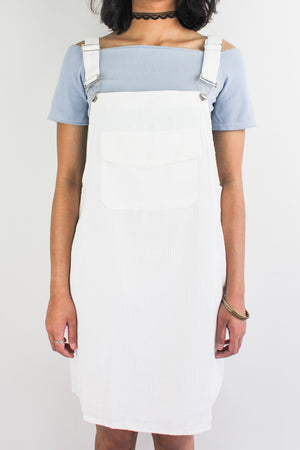 In Ac-Cord Midi Pinafore in White - DRESSES - Peep Boutique