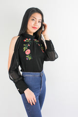 I've Got the Flower Embroidered Top in Black