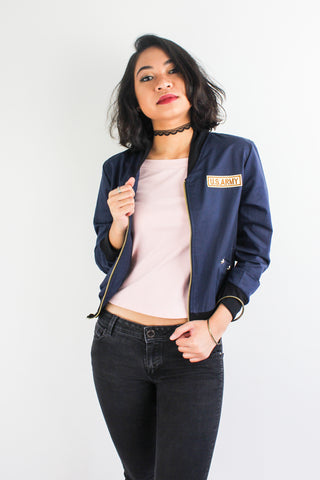 Commander Femme Bomber Jacket in Navy Blue